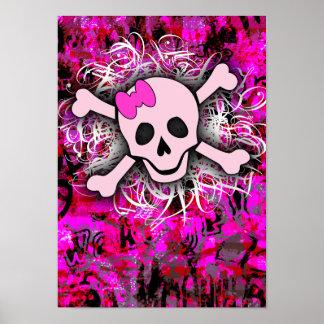Cráneo rosado póster
