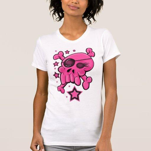 Cráneo rosado y bandera pirata camisas