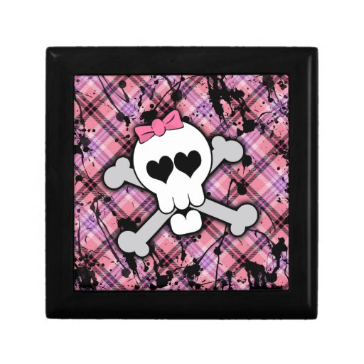 Cráneo rosado y bandera pirata con los corazones y joyero cuadrado pequeño