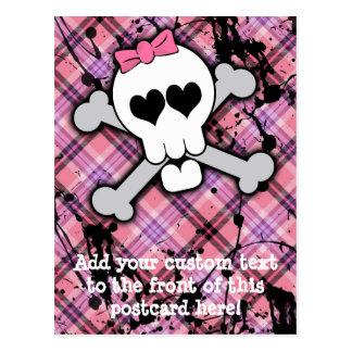 Cráneo rosado y bandera pirata con los corazones y postales