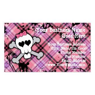 Cráneo rosado y bandera pirata con los corazones y tarjetas de visita