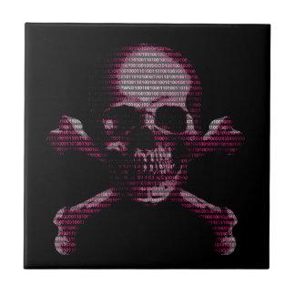 Cráneo rosado y bandera pirata del pirata azulejo cuadrado pequeño