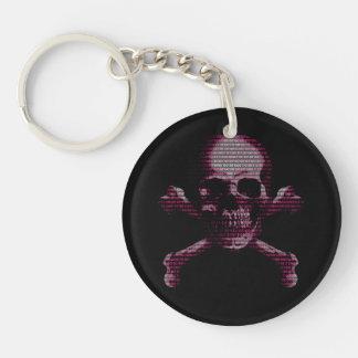 Cráneo rosado y bandera pirata del pirata informát llaveros