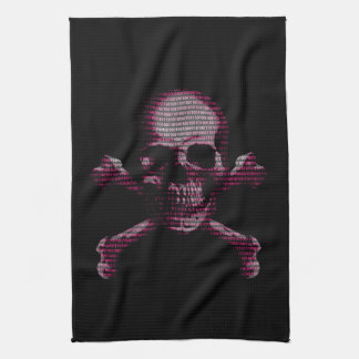 Cráneo rosado y bandera pirata del pirata toalla de cocina