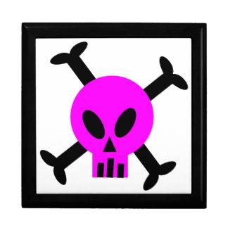 Cráneo rosado y bandera pirata Giftbox Cajas De Regalo