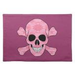 Cráneo rosado y bandera pirata Placemat del Mantel Individual