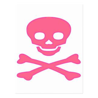 Cráneo rosado y bandera pirata postales