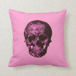 Cráneo rosado y negro almohadas