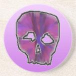 Cráneo rosado y púrpura posavasos cerveza
