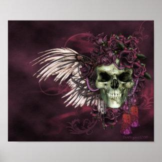 Cráneo-Rosas góticos de los muertos Póster