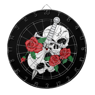 Cráneo, rosas y daga