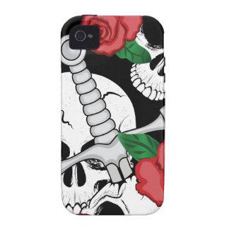 Cráneo, rosas y daga vibe iPhone 4 carcasa