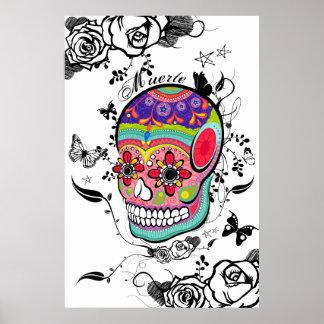 Cráneo, rosas y Flourishes artísticos del azúcar d Impresiones