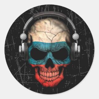 Cráneo ruso rasguñado de DJ con los auriculares Pegatina Redonda