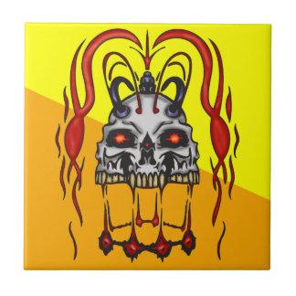 Cráneo sediento del Cyborg de la sangre Azulejo Cuadrado Pequeño