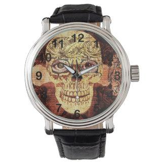 cráneo shugar pintado - steampunk reloj de mano