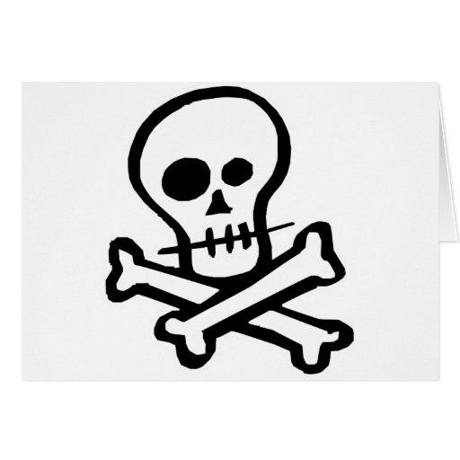Cráneo simple y bandera pirata de B&W Felicitación