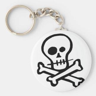 Cráneo simple y bandera pirata de B&W Llavero Redondo Tipo Pin