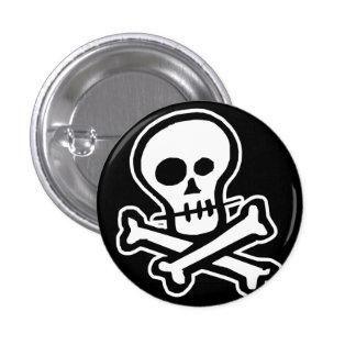 Cráneo simple y bandera pirata de B&W Pin Redondo De 1 Pulgada
