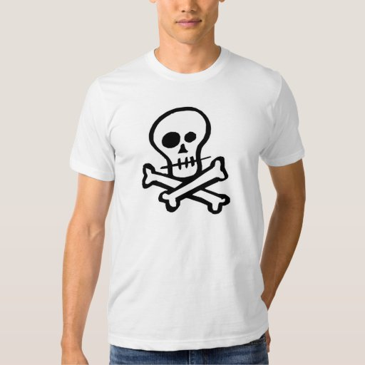Cráneo simple y bandera pirata de B&W Playera