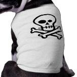 Cráneo simple y bandera pirata de B&W Camisa De Mascota