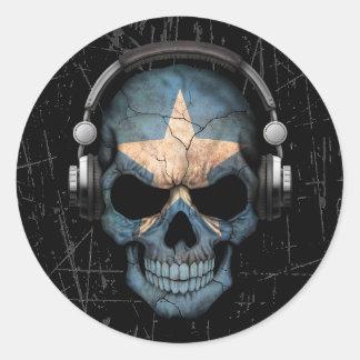 Cráneo somalí rasguñado de DJ con los auriculares Pegatina Redonda