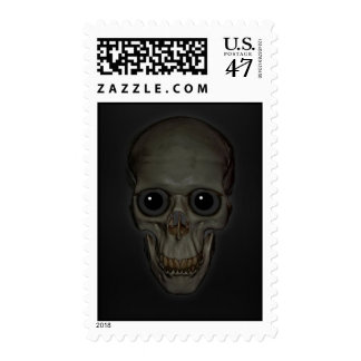 Cráneo sonriente con los ojos timbre postal