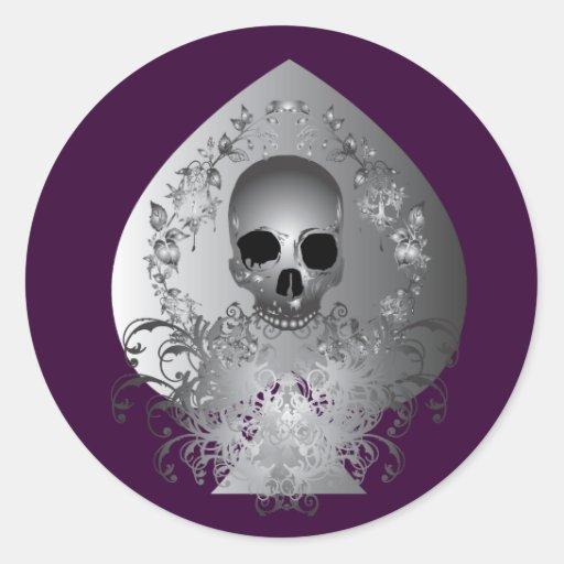 Cráneo Spade.gray Pegatina Redonda