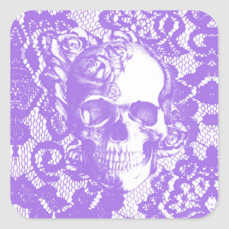 Cráneo subió cordón de la lavanda pegatina cuadrada