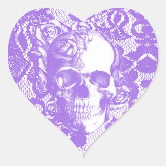Cráneo subió cordón de la lavanda pegatina en forma de corazón