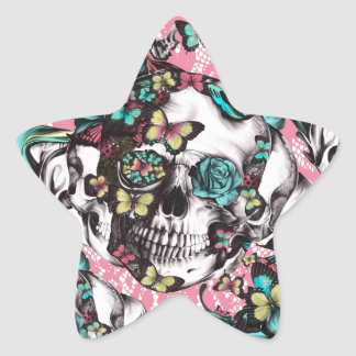 Cráneo subió mariposa en cordón rosado pegatina en forma de estrella