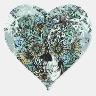 Cráneo subió mariposa retra pegatina en forma de corazón