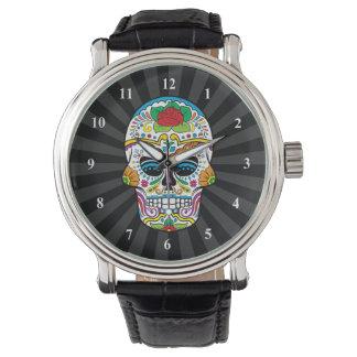 Cráneo subió tatuaje mexicano del azúcar relojes de pulsera