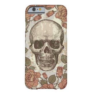 Cráneo subió vintage en paleta de color neutral funda de iPhone 6 barely there
