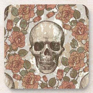Cráneo subió vintage en paleta de color neutral posavasos de bebidas
