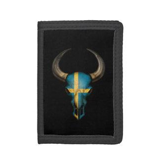 Cráneo sueco de Bull de la bandera en negro