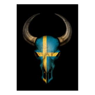 Cráneo sueco de Bull de la bandera en negro Tarjetas De Visita