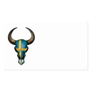 Cráneo sueco de Bull de la bandera Plantillas De Tarjetas Personales