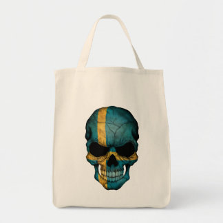 Cráneo sueco de la bandera en negro bolsa lienzo