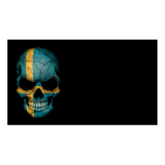 Cráneo sueco de la bandera en negro plantilla de tarjeta de visita