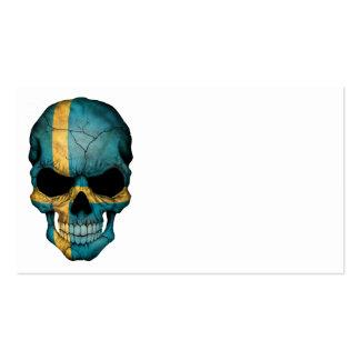 Cráneo sueco de la bandera tarjetas de visita