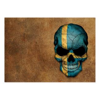 Cráneo sueco envejecido y llevado de la bandera plantilla de tarjeta personal