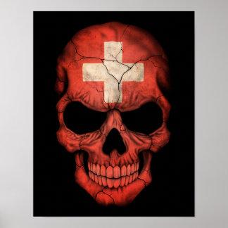 Cráneo suizo adaptable de la bandera impresiones