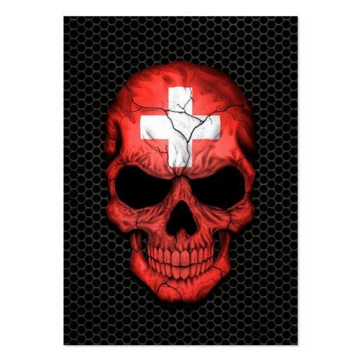 Cráneo suizo de la bandera en el gráfico de acero  tarjetas de visita grandes