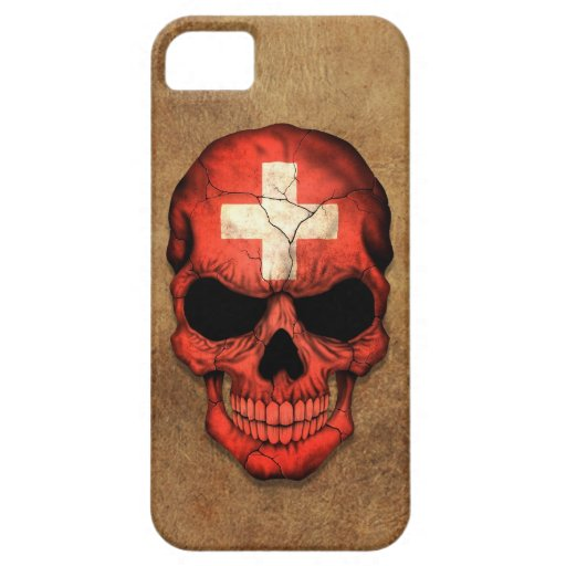 Cráneo suizo envejecido y llevado de la bandera iPhone 5 Case-Mate carcasa