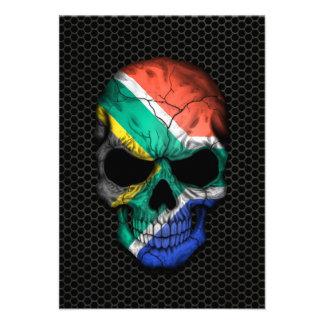 Cráneo surafricano de la bandera en el gráfico de anuncio