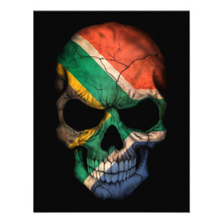 Cráneo surafricano de la bandera en negro anuncios personalizados