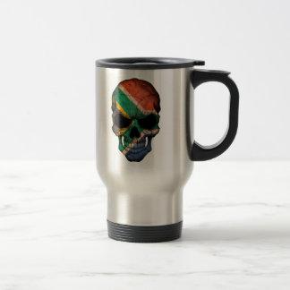 Cráneo surafricano de la bandera taza de viaje
