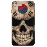 Cráneo surcoreano de la bandera en negro funda de iPhone 6 plus tough