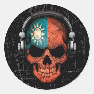 Cráneo taiwanés rasguñado de DJ con los Pegatina Redonda